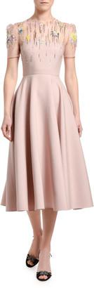 Valentino Embroidered Wool-Silk Dress