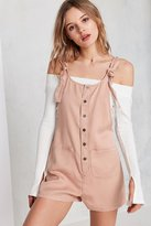 BDG Andy Button-Front Tie-Strap Shortall Overall