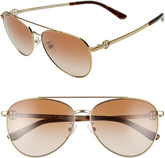 Tory Burch Aviator 58mm Pilot Aviator Sunglasses