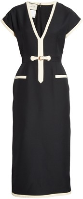 Gucci Belted Silk & Wool Cady Crepe Dress