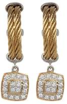 Alor 18K Yellow Gold, Stainless Steel & Yellow PVD Diamond Drop Hoops - 0.27 ctw