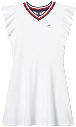 Tommy Hilfiger Tommy Ruffle Dress (Big Kids) (White) Girl's Dress
