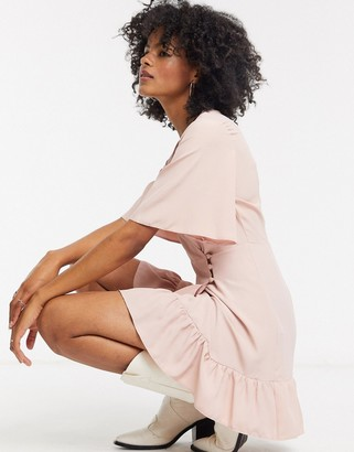 Topshop frill mini wrap dress in blush