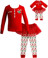 Dollie & Me Red Skirted Bottom Set & Doll Outfit - Toddler & Girls