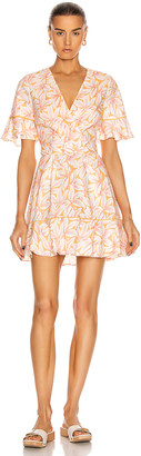 Jonathan Simkhai Zoey Belted Ruffle Mini Dress in Apricot Print | FWRD