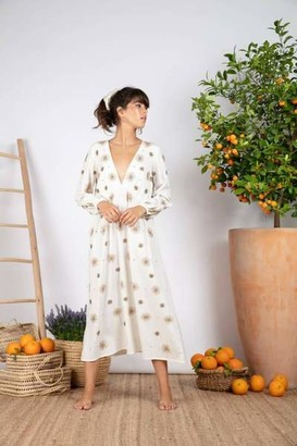 SUNDRESS Coconut And Sun Embroideries Chicago Long Dress - XS/S
