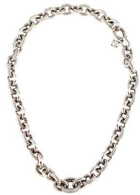 David Yurman Diamond Oval Link Necklace