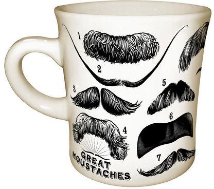 Unemployed Philosophers Guild Great Moustache Mug Pair
