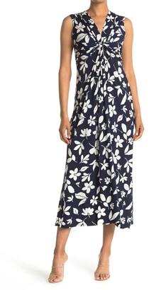Eliza J Twist Front Floral Printed Maxi Dress