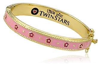 """Little Miss Twin Stars """"Frosted Flowers"""" 14k Gold-Plated Enamel Accented with Hot Flower Bangle Bracelet"""