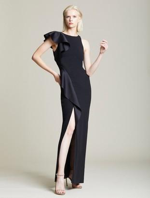 Halston Asymmetric Flounce Gown