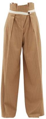 Golden Goose Pinstripe Paperbag-waist Wool-blend Trousers - Womens - Camel