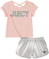 Juicy Couture Girls' Casual Shorts 2009 - Pink Crisscross-Back Logo Scoop Neck Tee & Silver Diamond Shorts - Infant, Toddler & Girls
