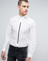 HUGO BOSS Hugo By Emac Shirt Contrast Placket Slim Fit In White
