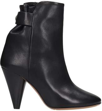 Isabel Marant Lystal High Heels Ankle Boots In Black Leather