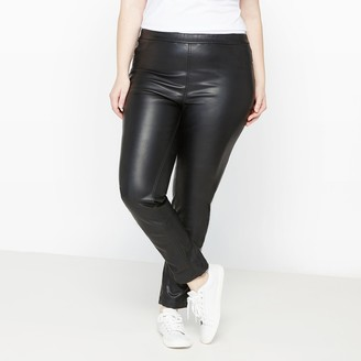 """Castaluna Plus Size Long Stretchy Jeggings in Faux Leather, Length 30.5"""""""