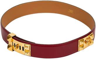 One Kings Lane Vintage Hermes Rouge H Collier De Chien Belt - Vintage Lux - rouge h, gold