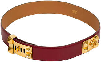 One Kings Lane Vintage Hermes Rouge H Collier De Chien Belt - Vintage Lux
