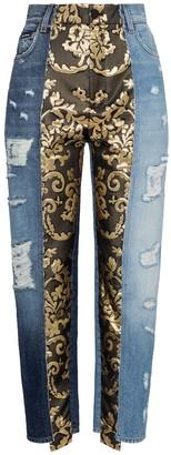 Dolce & Gabbana High-rise brocade straight jeans