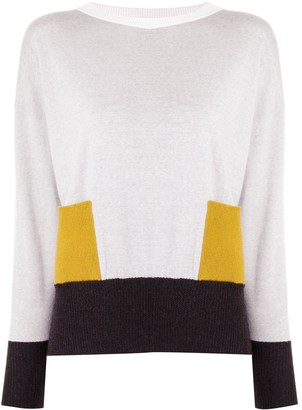 Lorena Antoniazzi Fine Knit Colour Block Jumper