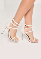 Missguided White Four Strap Barely There Heels