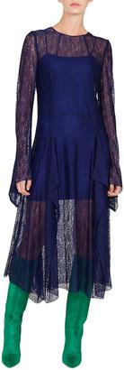 Akris Long-Sleeve Round-Neck Draped Lace Dress w/ Panel Slits