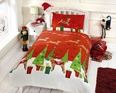 Rapport Christmas Reindeer Kids Xmas Presents Quilt Duvet Cover and Pillowcase Bedding Bed Set, Multi-Colour, Single