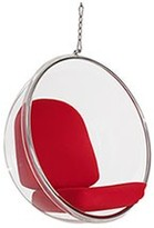 The Well Appointed House Modern Clear Suspended Bubble Chair With Red Cushion & Silver Hardware - ON BACKORDER -
