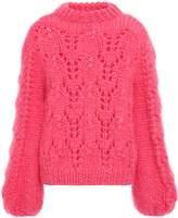 Ganni The Julliard Open-knit Mohair And Wool-blend Sweater