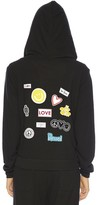 Peace Love World Assorted Patches Comfy Zip Hoodie