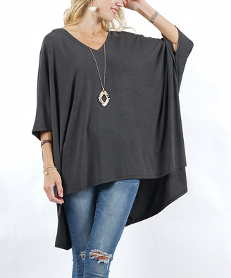 Lydiane Women's Ponchos CHARCOAL - Charcoal V-Neck Half-Sleeve Oversize Poncho - Women & Plus