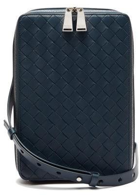 Bottega Veneta Intrecciato Leather Cross-body Bag - Blue