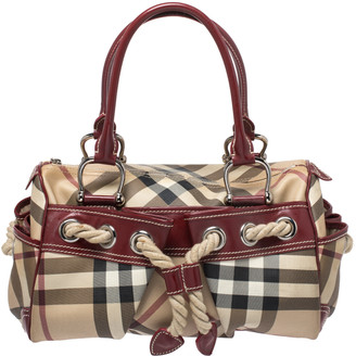 Burberry Beige/Red Nova Check Canvas and Leather Nautical Satchel