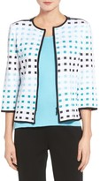 Ming Wang Women's Check Jacquard Knit Jacket