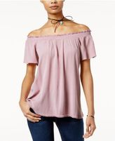 Self Esteem Juniors' Off-The-Shoulder Peasant Top with Necklace