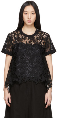 Sacai Black Embroidered Lace Top