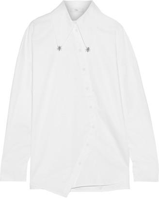Tibi Embellished Cotton-poplin Shirt