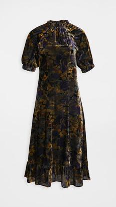 Sea Dogwood Floral Dropped Shoulder Dress