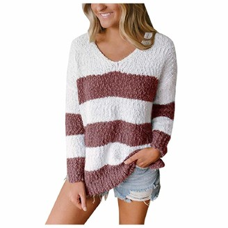 YEBIRAL Sweater Women Pullover Jumper Casual Long Sleeve Stripe Colour Stitching V Neck Loose Plush Tops Red