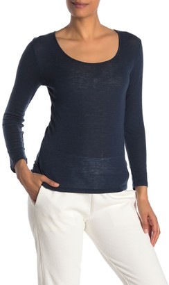 Vince Scoop Neck Long Sleeve Wool T-Shirt