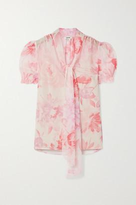 Jason Wu Pussy-bow Floral-print Crepon Blouse - Blush