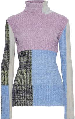 3.1 Phillip Lim Color-block Marled Ribbed-knit Turtleneck Sweater