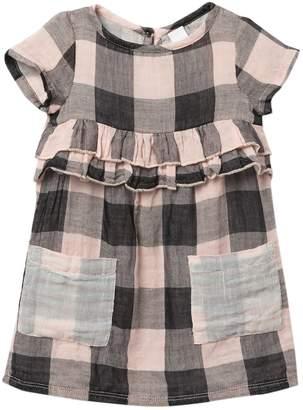 Harper Canyon Double Gauze Plaid Short Sleeve Dress (Baby Girls)
