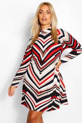 boohoo Plus Swin Stripe Dress