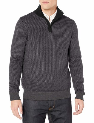 Perry Ellis Men's Quarter Zip Long Sleeve Sweater