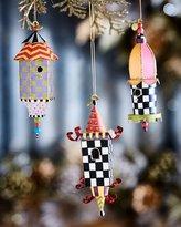 Mackenzie Childs MacKenzie-Childs Birdhouse Christmas Ornaments, 3-Piece Set