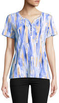 Karen Scott Paint Print Short-Sleeve Henley