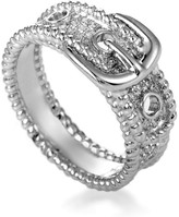 18K White Gold Diamond Pave Belt Buckle Band Ring