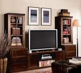 Pottery Barn Logan Media Suite with Drawers and Glass Towers, Mahogany Stain