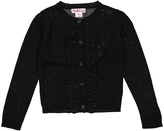 Pink Angel Black Ruffle-Detail Button-Up Cardigan - Infant Toddler & Girls